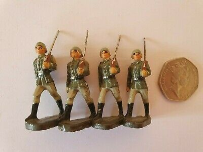 V.RARE ELASTOLIN 4cm INFANTRY MARCHING X 4 FIGS BETWEEN WARS ??? CRACKING FIGS • 59.99£