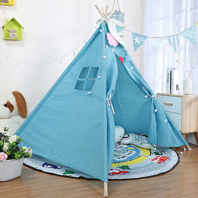 Large Canvas Children Kids Indian Tent Teepee Wigwam Indoor Outdoor Play House • 17.99£