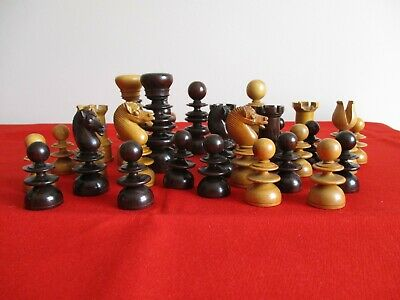 Antique St George Chess Set. Victorian Boxwood And Rosewood. 9cms • 149£