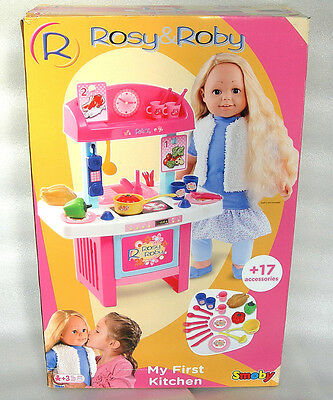 Smoby Rosy & Roby My First Dolls Kitchen Playset With 17 Accessories - NIDB • 14.99£