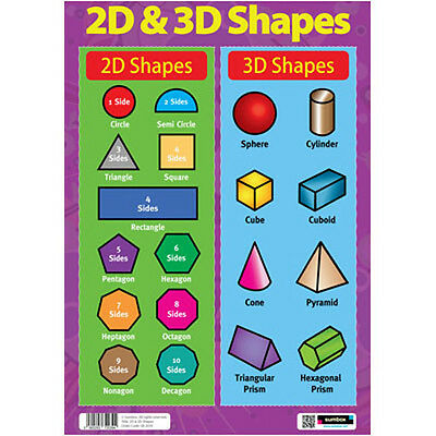2D & 3D Shapes - EDUCATIONAL MATHS POSTER - Numeracy Teaching Resource Revision • 2.95£