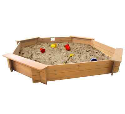 Garden Games Large Octagonal Wooden Sandpit 1.8 M Across With Cover And Underlay • 79.99£
