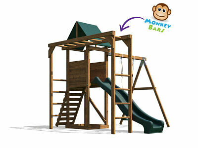Monkey Bar Climbing Frame Playhouse Kids Slide Swing Set - MonkeyFort Wilderness • 454.99£