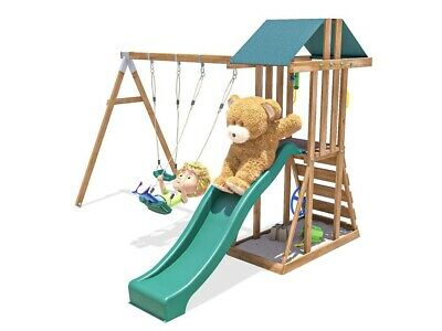 Kids Wooden Climbing Frame Swing Slide Sets Garden Play Set - JuniorFort Tower • 329.99£