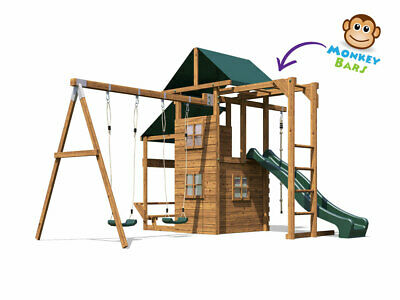 Wooden Garden Climbing Frame Playhouse Swing Slide Set - ManorFort Stronghold • 689.99£
