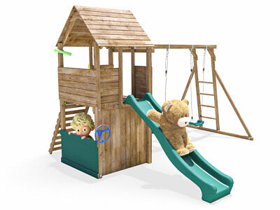 Wooden Climbing Frame Playhouse Childrens Swing Monkey Bars - FortPlus Escape • 579.99£