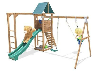 Climbing Frame Kids Swing Set Slide Tower Monkey Bars - MonkeyFort Woodland • 469.99£