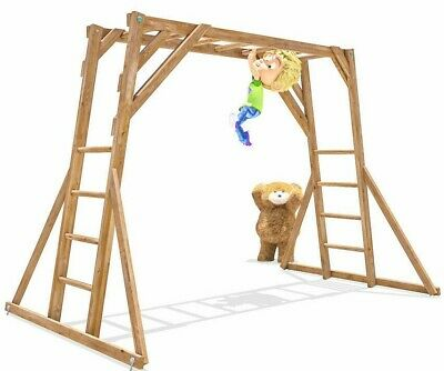 Kids Monkey Bars Childrens Wooden Climbing Frame Timber Garden UK Dunster House • 184.99£
