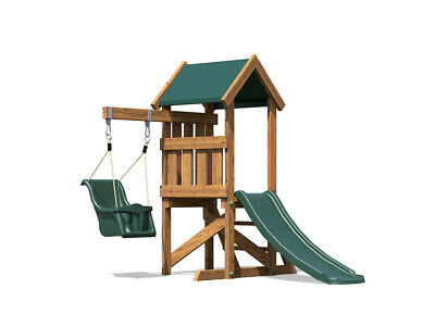 Wooden Toddlers Outdoor Climbing Frame Baby Swing Childrens Slide - MicroFort • 294.99£