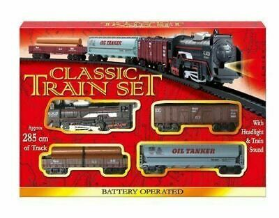 Classic Battery Operated Train Set With Tracks Light Engine Children Kids Toy • 7.59£