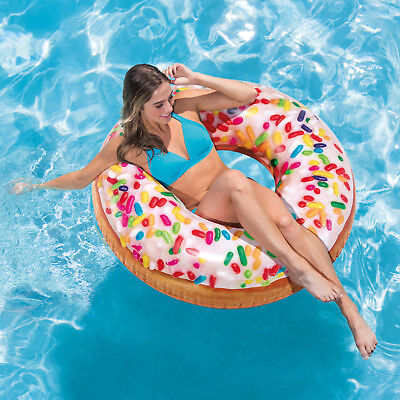 45  Intex Inflatable Giant Donut Sprinkle Tube Pool Float Swimming Ring Lounger • 11.99£