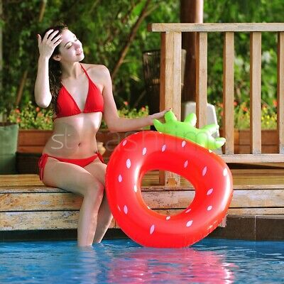 Inflatable Strawberry Lilo Air Lounger Mat Bed Swimming Pool Beach Float Summer  • 7.95£