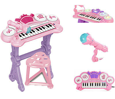 Kids Electronic Keyboard Organ Piano With Lights 24 Keys Drum Microphone & Stool • 22.99£