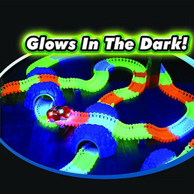 Kids Children Flexible Bendable Glow In The Dark Car Race Track Set With 1 Car • 8.99£
