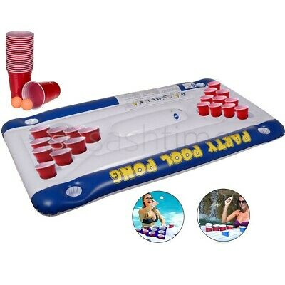 Inflatable Beer Pong Ball Table 20 Cups Holder Lounge Party Float Raft Pool Game • 119.95£