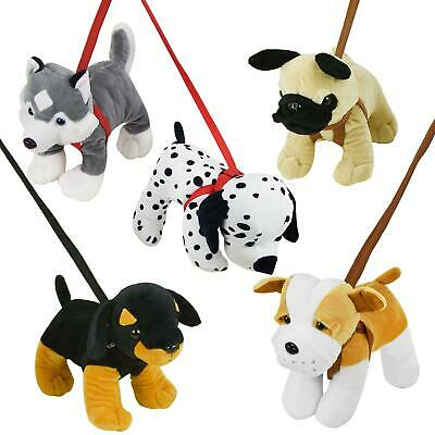 Standing Dog On A Lead Plush Soft Toy Puppy Toys Walk Kids Teddy Pet Assorted • 9.19£