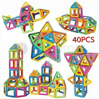 40Pcs Blocks Magnetic Educational Toys Tiles Building Kids Xmas Gifts DIY UK NEW • 12.95£