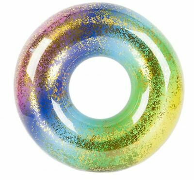 Quality Funky Glitter Rainbow Inflatable Swim Ring Beach Pool Float • 7.95£