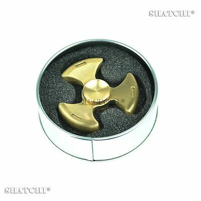 Metal Fidget Spinner Gold Brass Hand Anti Stress Relief Kids Toys Tin Packing UK • 5.29£