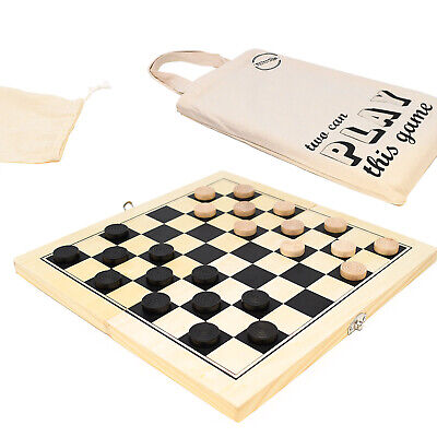 Pine Wooden Draughts Set With Folding Board And Cotton Travel Bag -Checkers Game • 15.99£
