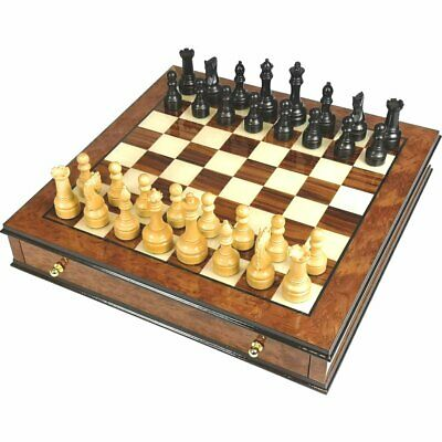 Handcrafted Elm Burl And Rosewood Chess Set With Brass Plated Handles • 595£