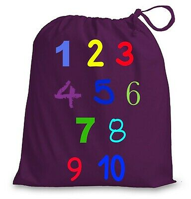 Numbers Counting Purple Drawstring Bag • 5.75£