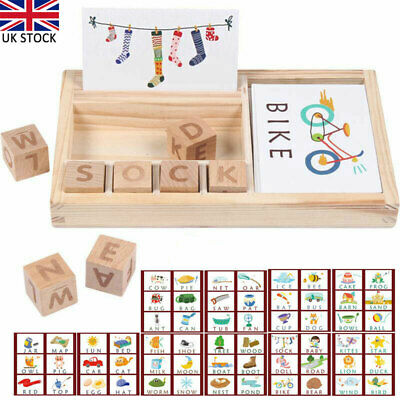 3-in-1 Spelling Learning Game Wooden Spelling Words Enlightenment Baby Kids Toys • 12.99£
