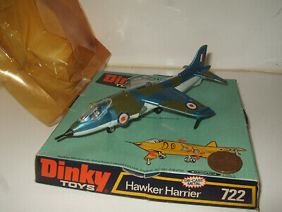 Rare Vintage Dinky 722 Hawker Harrier Diecast Model With Blister & Base.  • 49.85£
