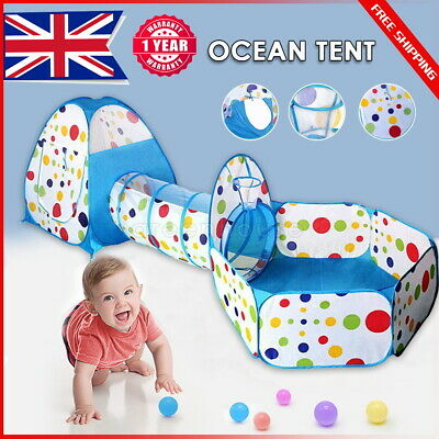 3-in-1 Kids Play Tent Large Play House Tunnel & Ocean Ball Pool For Baby Toddler • 18.99£