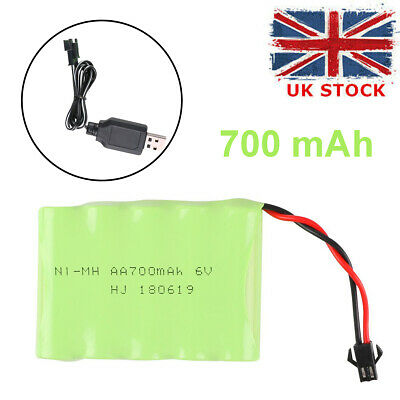 NI-MH Battery 6v 700mAh Battery Pack With SM 2P Plug USB Charger For RC Car Toys • 6.99£