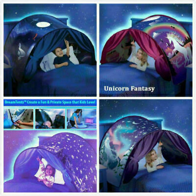 Children Tents Baby Pop Up Bed Tent Unicorn Foldable Playhouse Night Sleeping=1 • 8.99£