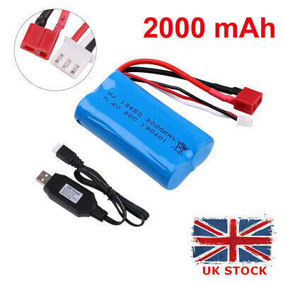 2S Lipo Battery 7.4V 2000mAh 20C T Plug Connector With USB Charger For RC Car • 9.99£