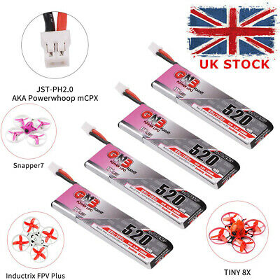 4pcs 520mAh 1S 3.8V LiPo Battery 80C HV LiHv Battery W/ JST-PH 2.0 Plug For FPV • 13.99£