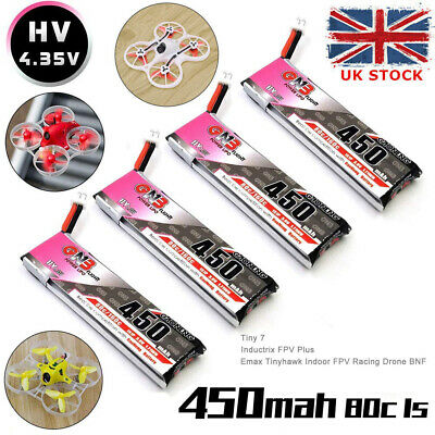 4Pcs 450mAh 1S HV 3.8V LiPo Battery 80C JST-PH 2.0 Plug For Micro Racing Drone • 14.99£