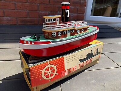 Sunrise Toys Smoking Tugboat In Its Original Box - Excellent Working Model Rare • 189.95£
