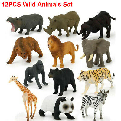 12Pcs Kids Small Plastic Figures WILD ANIMALS Simulation Toys Birthday Xmas Gift • 7.99£