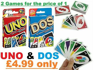 DOS & UNO Card Game 108 CARDS Fun Children Friend Family Party Travel UK Seller • 4.97£
