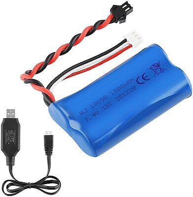 1500mAh 7.4V Battery 15C SM Plug With USB Charger For RC Car Boat Spare Parts • 10.99£