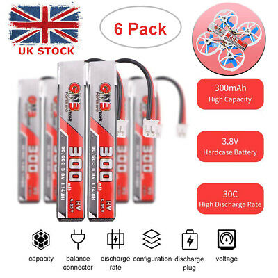 6 X 300mAh HV 1S Lipo Battery 30C 3.8V With JST-PH 2.0 Plug For Tiny Whoop Drone • 14.99£
