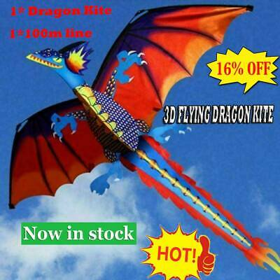 Hot 3D Dragon Kite Single Line With Tail For Adults And Kids Flying Outdoor Hot • 9.37£