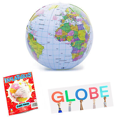 Inflatable Globe 40 Cm Blow Up World Map Earth Education Toy For Kids • 1.99£