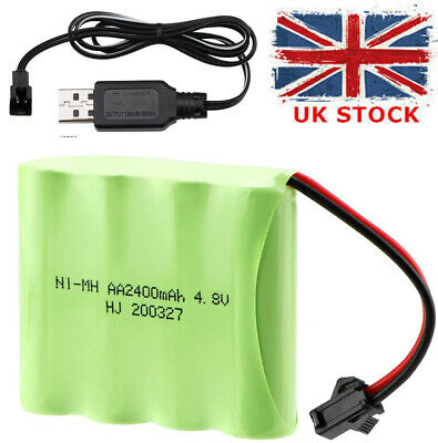 4.8V 2400mAh Ni-MH AA Rechargeable Battery Pack With SM-2P Plug For RC Trucks UK • 9.99£