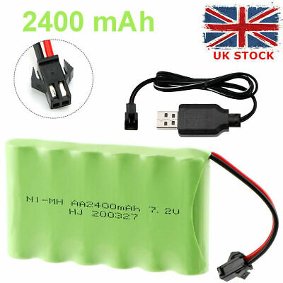 7.2V 2400mAh Ni-MH AA Rechargeable Battery Pack With SM-2P 2Pin Plug For RC Cars • 10.99£