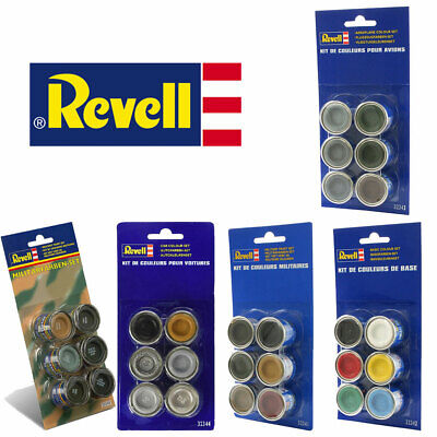 REVELL Colour Set 6x14ml Enamel Paints - Military, Aircraft, Cars, Base Colour • 12.95£