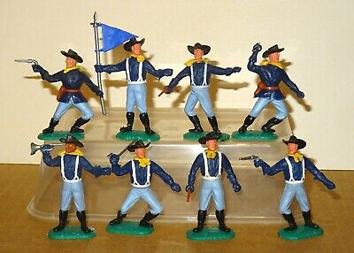 TIMPO FIRST SERIES COMPLETE SET OF 8 US 7th CAVALRY TROOPERS (1960's) • 10.50£