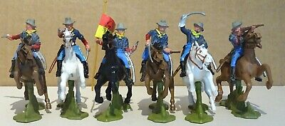 BRITAINS SET OF SIX US 7th  MOUNTED CAVALRY TROOPERS (1970's) • 24.01£