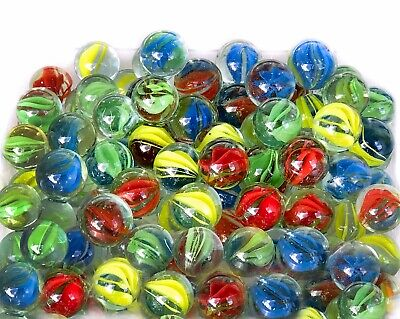 100 Glass Marbles Multi Coloured Kids Toy Traditional Vintage Target Games Retro • 4.90£