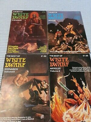 4 X VINTAGE -THE BEST OF WHITE DWARF SCENARIOS AND ARTICLES • 50£