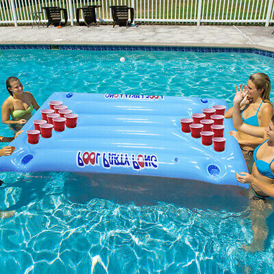 Pool Party Pong 24 Cup Holder Inflatable Beer Mattress Table Float Water Party • 15.49£