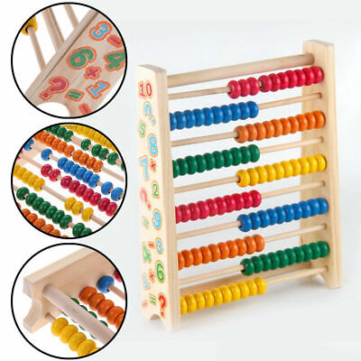 Wooden Bead Abacus Kids Educational Math Learning Colourful Toy Counting Numbers • 7.29£